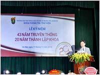 Lễ kỷ niệm 43 năm truyền thống và 20 năm thành lập khoa Thông tin - Thư viện, trường Đại học Khoa học Xã hội và Nhân văn - Đại học Quốc gia Hà Nội (1996 - 2016)